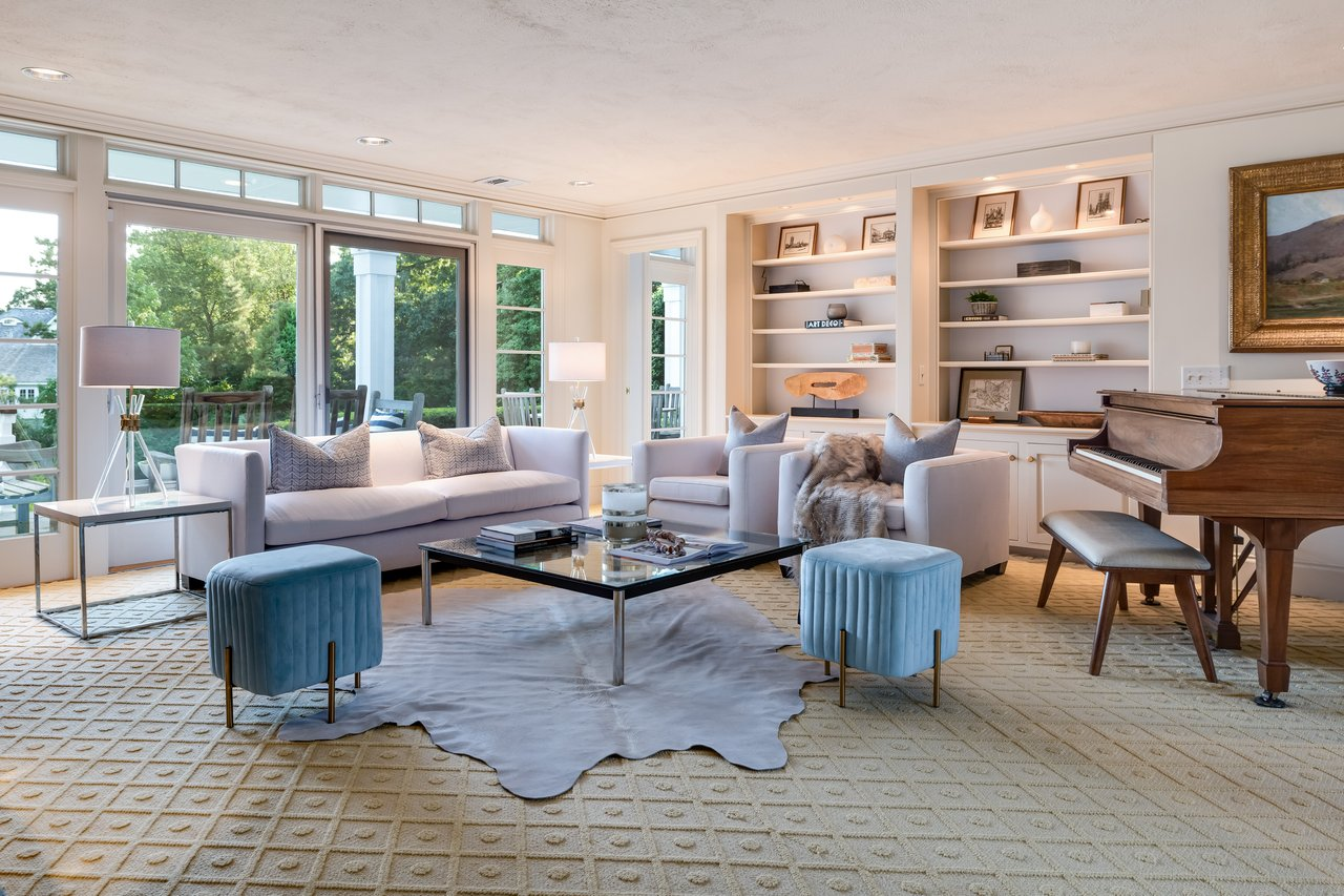 The south-facing Office, Living Room, Family Room + Dining Room all offer a full view of the marsh and Long Island Sound.