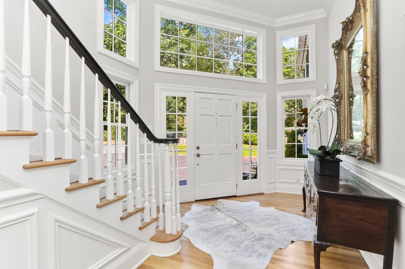The entryway abounds in natural light.