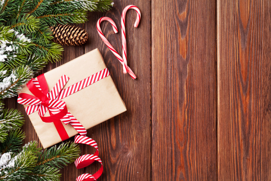 Christmas background with fir tree and gift box