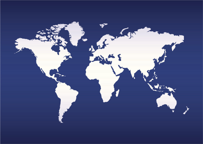 illustrated World map of the earth with blue ocean background