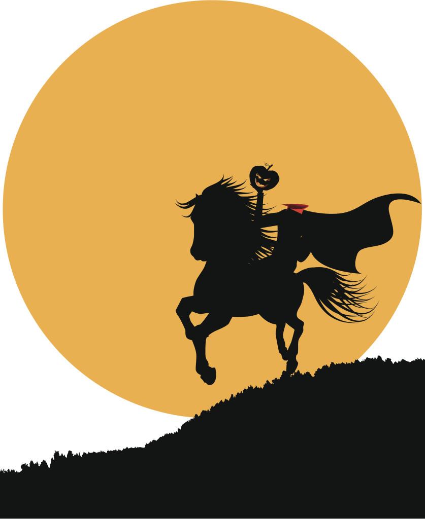 The headless horseman rides against the full moon. See similar files: