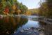 Colorful fall foliage along the Farmington River in Canton, Conn