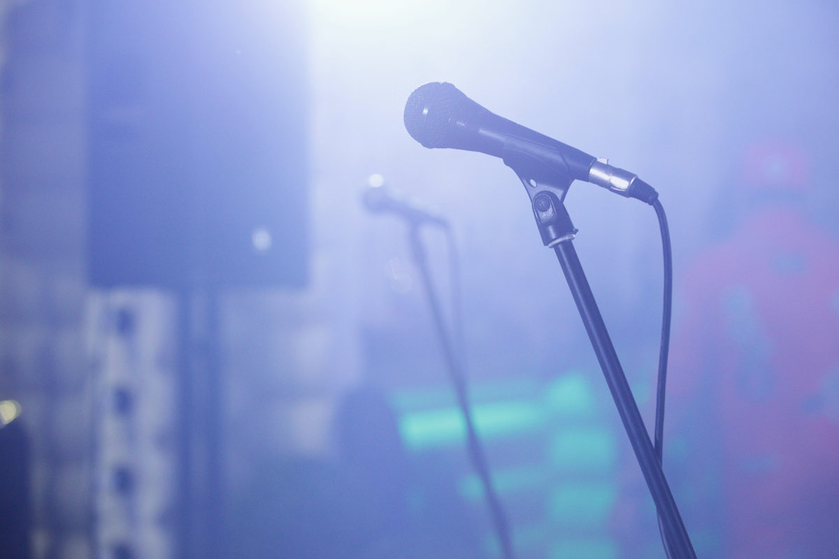 Close up of concert microphone. Stand up show