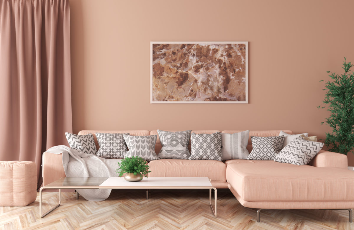 Modern interior of living room with peach corner sofa, coffee table 3d rendering