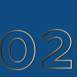 Vision 2020 on a classic blue background gold large contour figures. Vector illustration with copy space is suitable for a banner, greeting card and template.